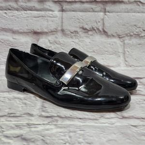 Zara Basic Black & Silver Buckle Leather Loafers
